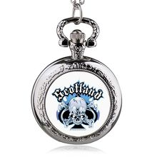 Steampunk Hollow Carribean Pirate Skull Head Horror Quartz Pocket Watch with Chain for Girls and Women