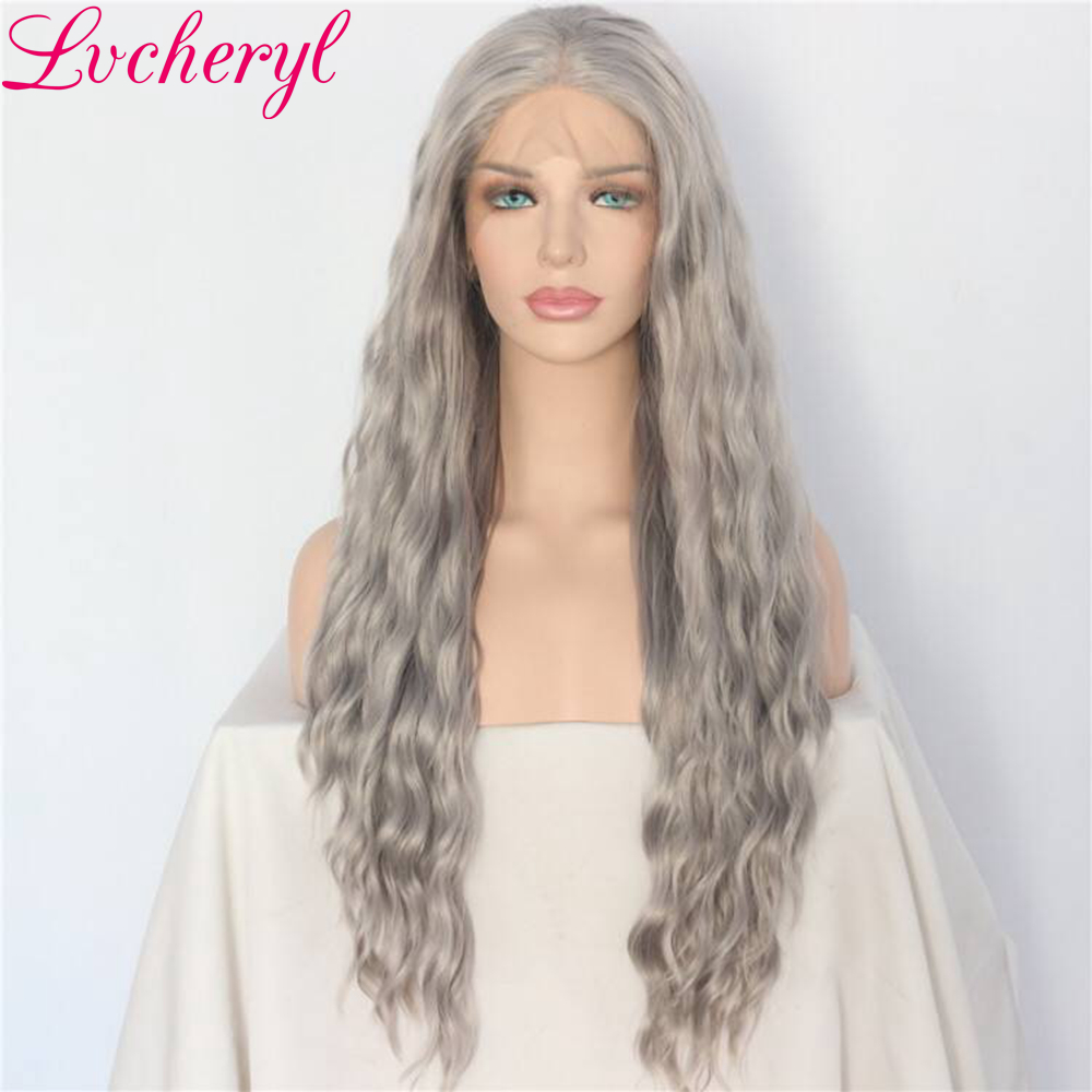 Lvcheryl Hand Tied Grey Color Natural Long Loose Wave Heat Resistant Fiber Hair Glueless Synthetic Lace