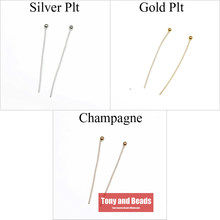 (300Pcs=1Lot ! ) Free Shipping Jewelry Necklace Earring Finding Copper Ball Head Pins 20MM Gold Silver and Champagne Plated EW21(China)