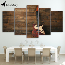 HD Printed 5 Piece Canvas Art Music Instrument Wooden Guitar Painting Wall Pictures for Living Room