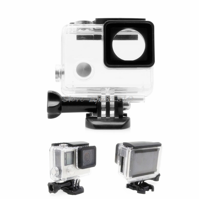 Side Open Skeleton Housing Protective Case Cover Mount For GoPro Hero 4/3+ new Z09 Drop ship side open protective case w individual aluminum alloy lens strap ring for gopro hero 3 3 red