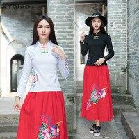 KYQIAO online Chiński sklep 2017 Etniczne koszula kobiet jesień zima oryginalne zabytkowe stójka czarny biały zielony czerwony bluzka