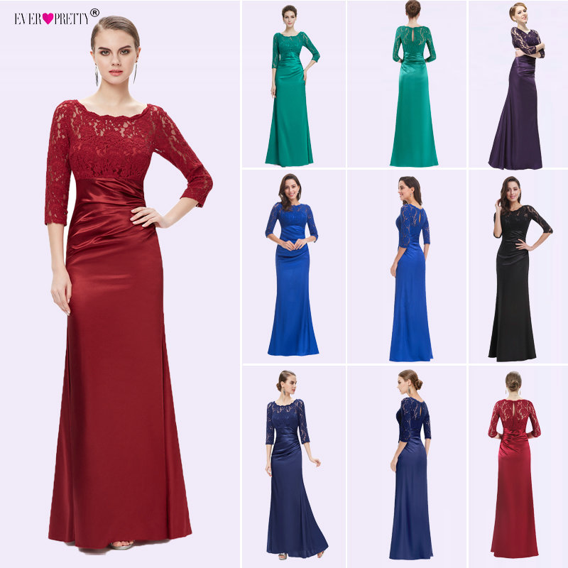 Robe De Soiree Ever Pretty Women Elegant   Evening     Dresses   Vintage Satin Lace Three Quarter Sleeved Formal Party   Evening   Gowns