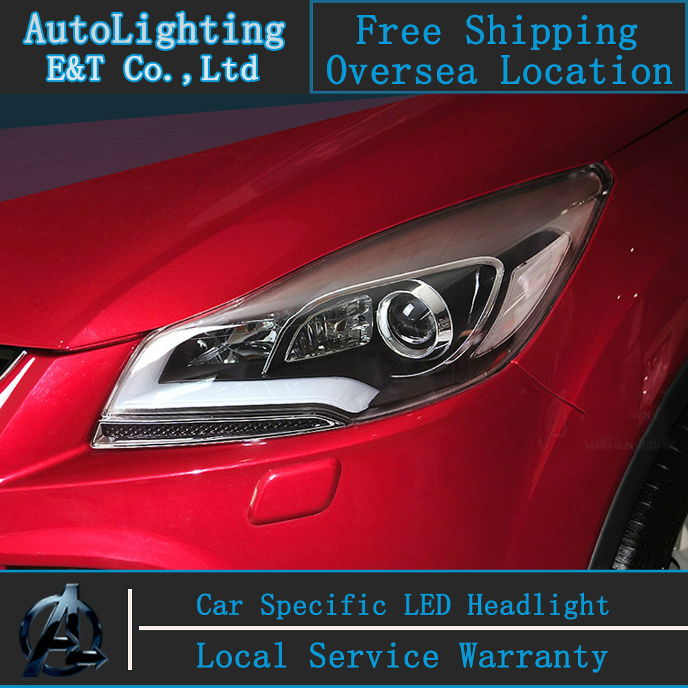 Car styling LED Head Lamp for Ford Kuga Escape led headlight assembly 2013-2014 COB angel eye drl H7 with hid kit 2 pcs.