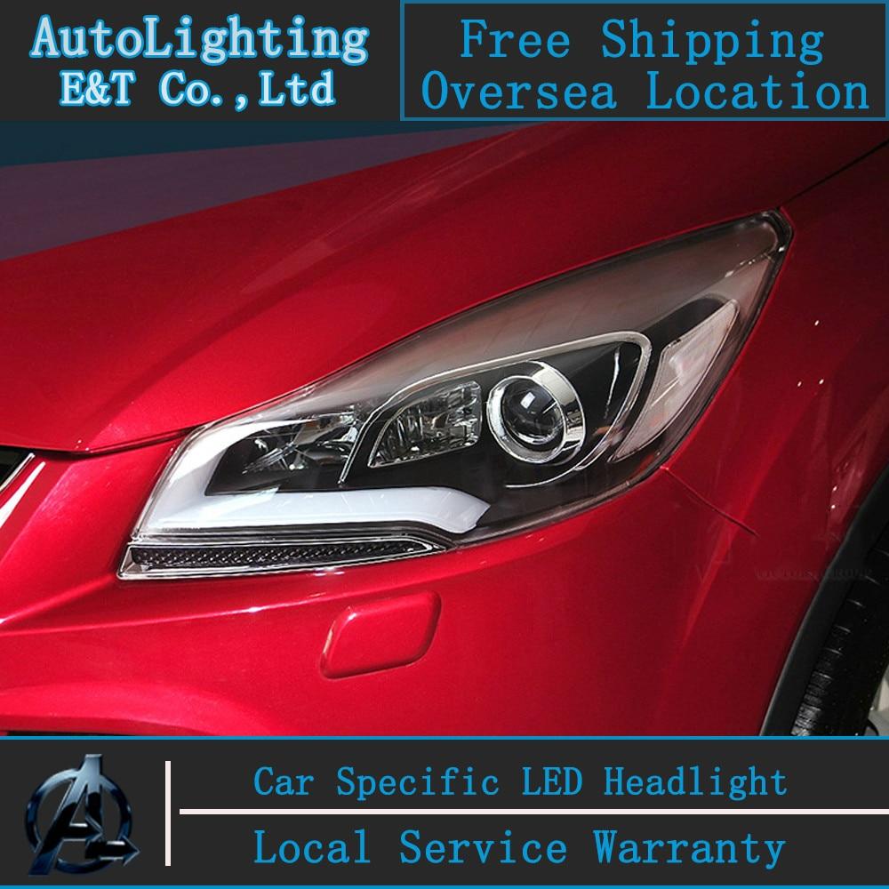 Стайлинга автомобилей светодиодные лампы головного света для Форд Куга Побег светодиодные фары сборки 2013-2014 cob ангел глаз ДРЛ Н7 с HID комплект 2 шт.