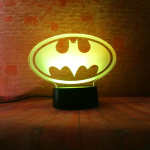 Image 3 - Amroe DC Justice League Marvel Batman Symbol 7 Color Dimming Auto 3D Night Light Child Kids Table Lamp Birthday Xmas Toys Gifts