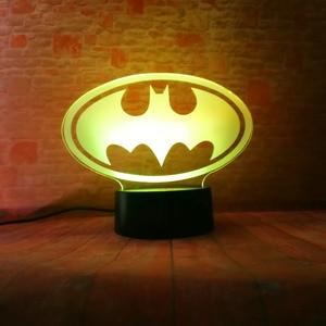 Image 3 - Lampara de mesa para niños, regalos de cumpleaños o de Navidad, de la Liga de la justicia de Marvel, Batman, 7 colores, luz nocturna 3D