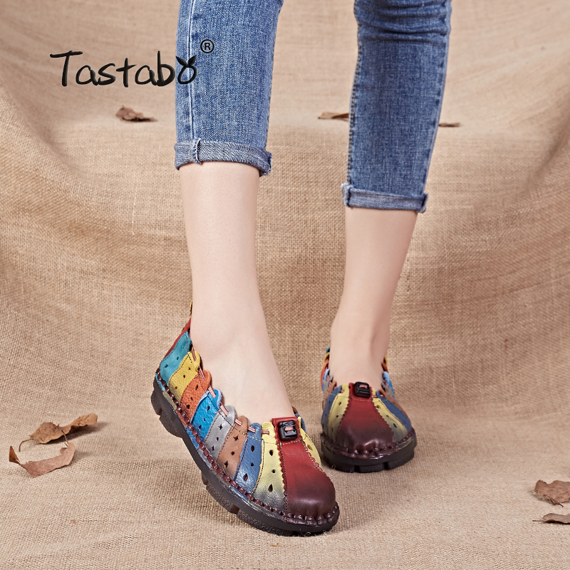 Tastabo 2017 Autumn Flat shoes women Handmade Genuine Leather Ballet Shoes Slip on Mixed Colors Round toe Nurse Peas Loafer new spring and summer cotton fabric breathable slip on flat with women s loafer mixed colors shoes free shipping