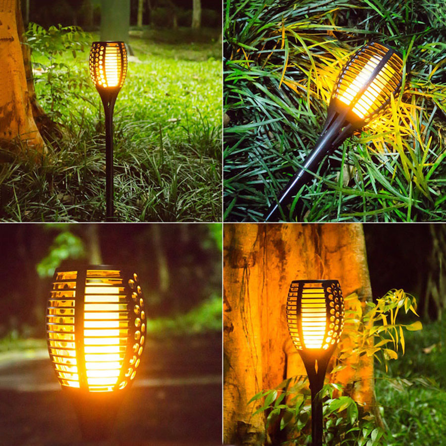 Beiaidi Solar Tiki Torches Lights Waterproof Led Flame Flickering Lawn Lamp Outdoor Garden Patio Yard Landscape Lighting