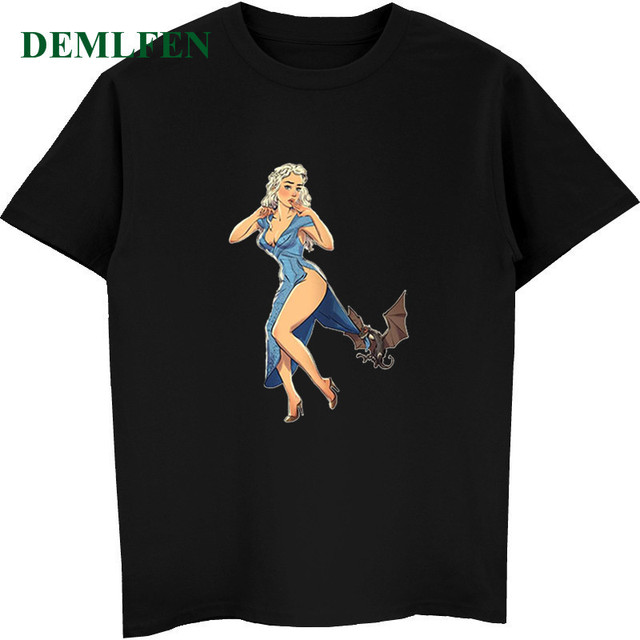 fa3720092 Best Gift For Friend New Funny Sexy Girl With Dragon Game Of Thrones T Shirt  Men's Short Sleeve Cotton Shirt Cool Tees Tops