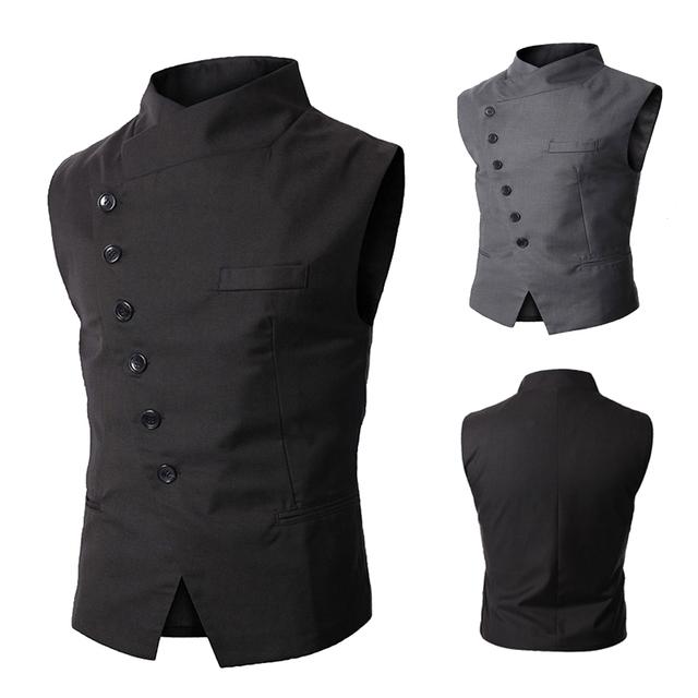 New Arrival Mens Vest Fashion Brand Vest Men High Quality Black Gray Formal Business Men Fit Suits & Blazer For Men