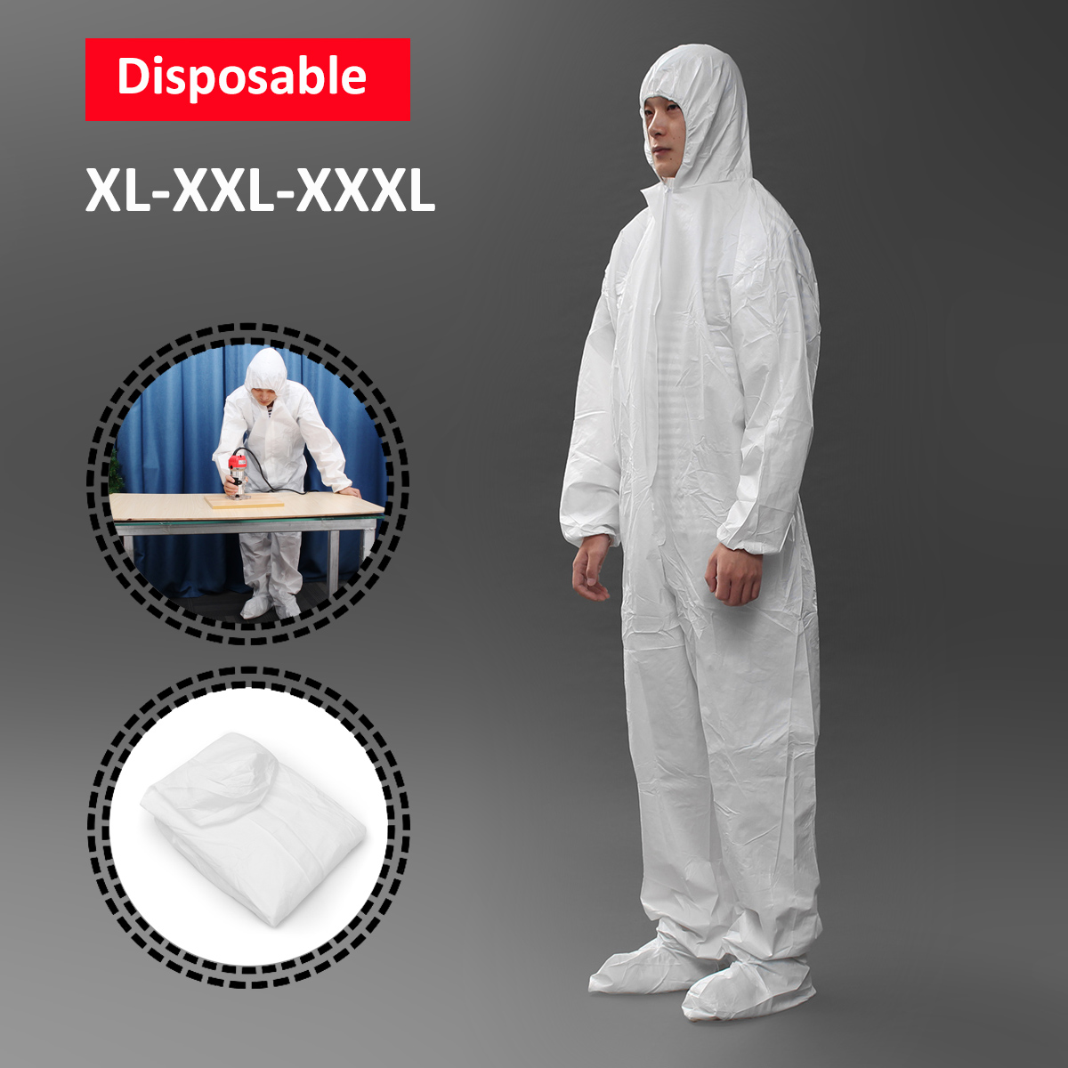 White Safety Clothing Work Clothes Conjoined With Hood Cap Chemical Disposable Protective Clothing Suit Waterproof XL/XXL/XXXL clothing loves синий xl