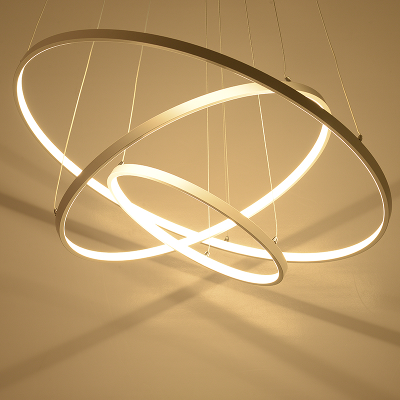 Modern brief home living room decoration acrylic pendant lights DIY circle rings white aluminum body LED dimmable lighting circle
