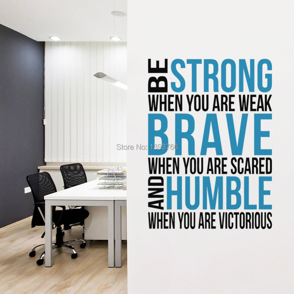 Brave strong humble inspirational saying quotes diy - Removable wall stickers living room ...