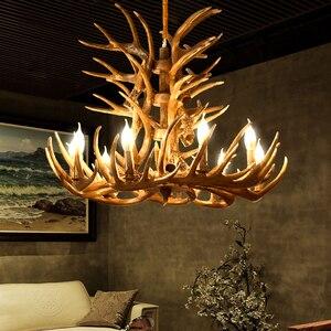 Image 4 - Marrom Branco Resina Antler Chandelier Iluminação Do Vintage 4/6/9 Braços E14 Luminárias Lustres de Luxo Para Casa