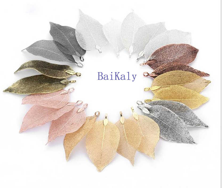 Fashion 3x5 Natural Real Leaf Pendant Jewelry for Womens/Girls Wedding Party Earrings/Necklaces/Bracelets charms Jewelry Gifts