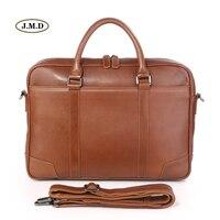 J.M.D High Quality Real Leather Brown Office Briefcase Business Handbag Classic Style Travel Bag Portable Laptop Handbag 7349B