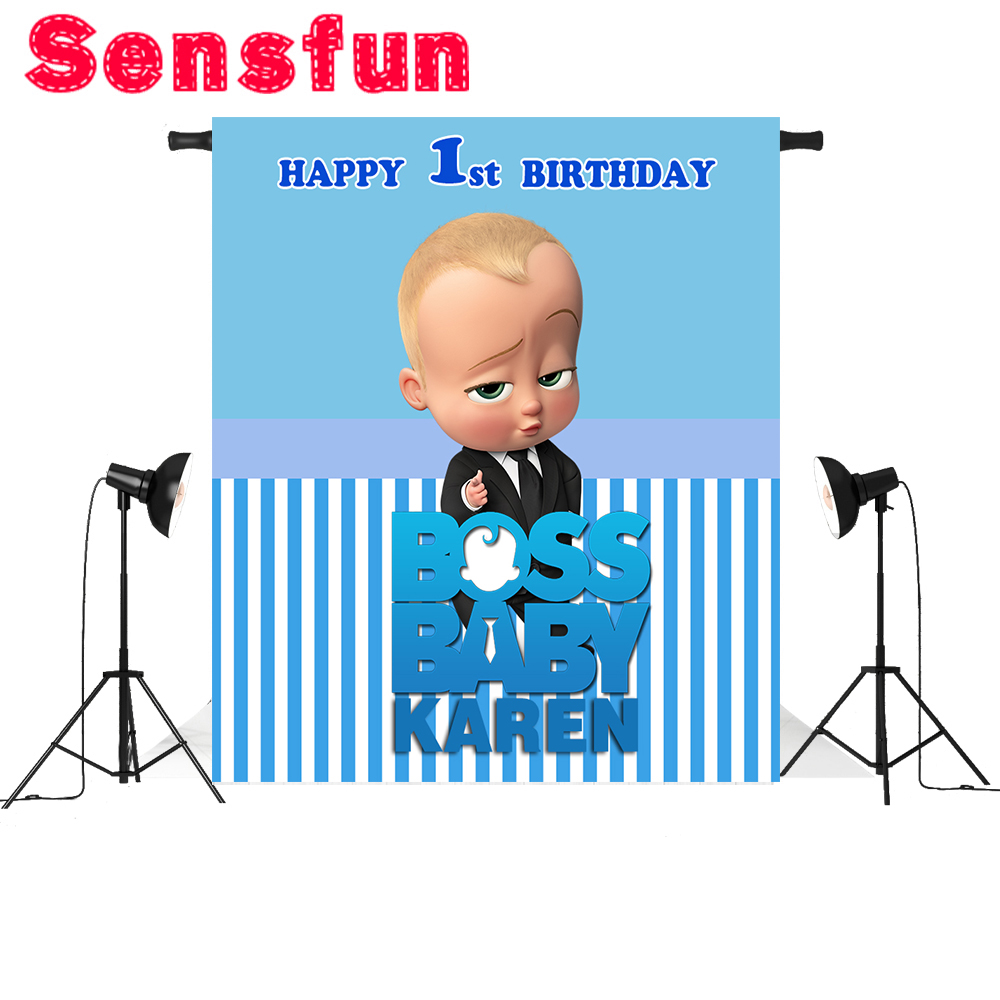 Us 7 35 8 Off Sxy1203 Vinyl Cloth Blue Wall Baby Shower Party Custom Photo Backgrounds Boss Baby Photography Backdrops In Background From Consumer