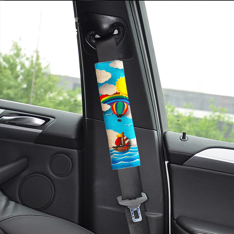 Kids Linen Car Seat Belt Cover Cartoon Shoulder Pad Covers Printing Pattern Flax Car Seatbelt Pad Safety Shoulder Protection 1PC