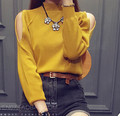 2016 Autumn womens slim knitted sweater strapless long-sleeve pullover knitted sweater Female Fashion Sexy Sweaters Off Shoulder