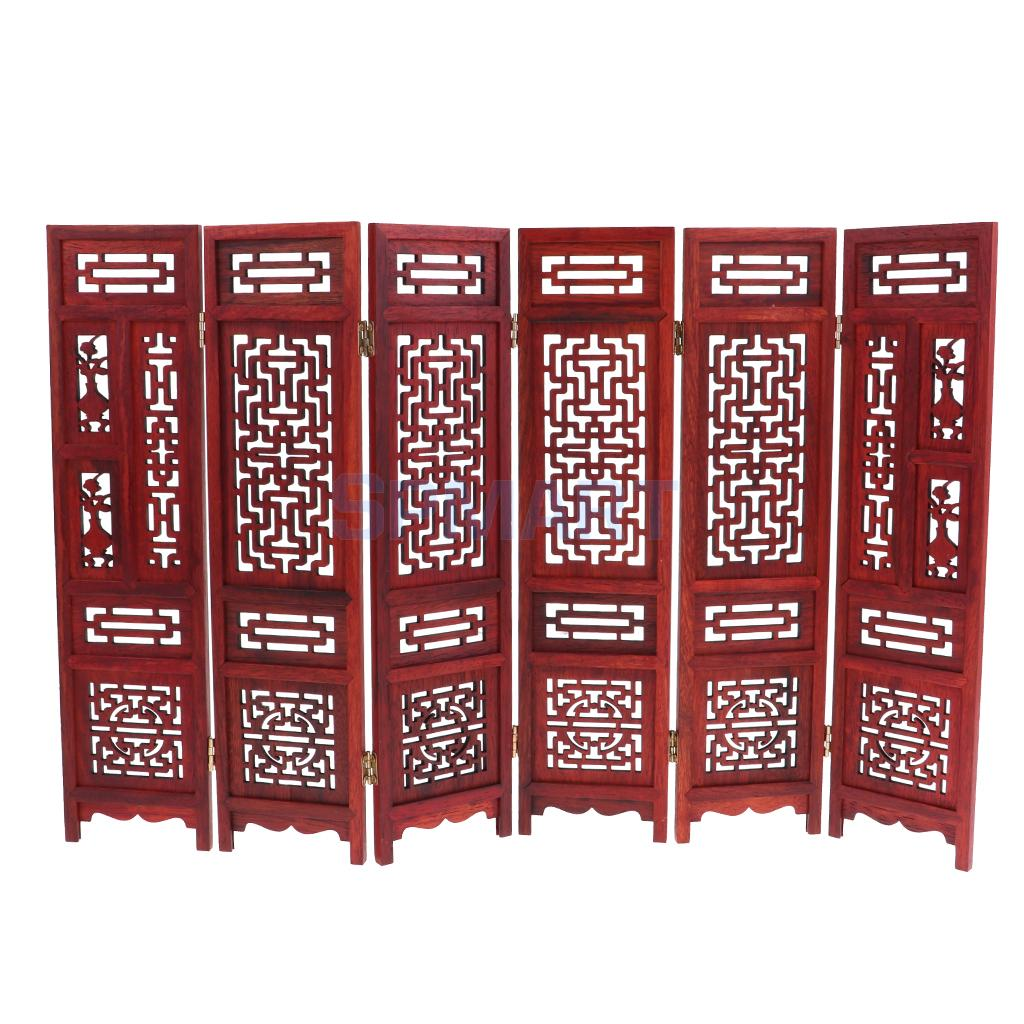 Annatto 1 6 Wooden Folding Screen Furniture for Hot Toys Figures Dollhouse Blythe BJD Dolls Accessory