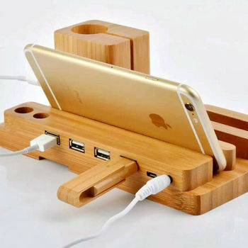Latest Multi functional Real Bamboo Wood Universal Charging StandHolder for Apple Watchfor iPhone 6 6s for Samsung+4 USB Ports plywood