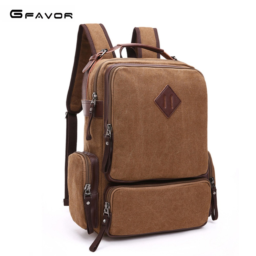 G-favor England Style New Backpack Men Canvas Backpack Large Capacity Bag For Travel Fashion Laptop Backpack Student Bags