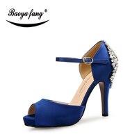 BaoYaFang Royal blue 10.5cm heel womens wedding shoes Bride High heel platform shoes for woman red sole fashion shoes Open Toe