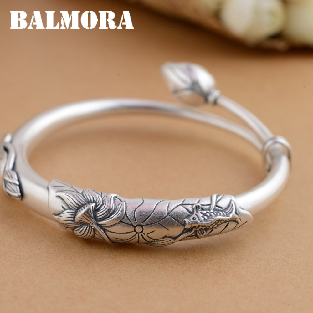 BALMORA 990 Pure Silver Lotus Flower & Fish Bangles for Women Mother Gift about 19cm Adjustable Bracelet Jewelry Pulsera SZ0242 about me fish