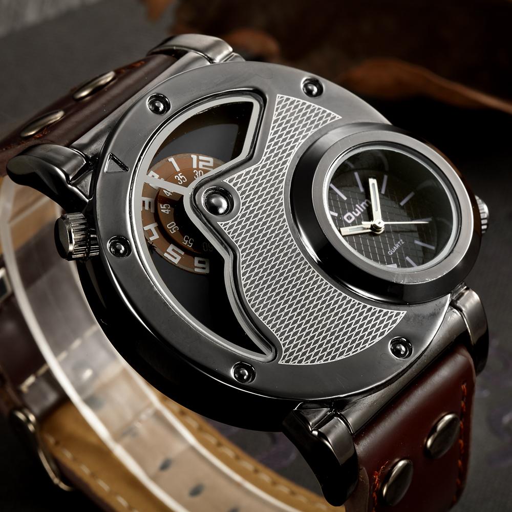 Prix pour Oulm Unique Design Homme Montres À Quartz Top Marque De Luxe Bracelet En Cuir Militaire Sport Montre-Bracelet Homme Horloge relogio masculino