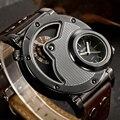 Oulm hombre diseño único correa de cuero de cuarzo relojes de lujo superior de la marca del deporte militar reloj hombre reloj relogio masculino