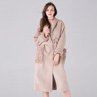 2018 г. осенние и зимние новые Двусторонняя кашемировые пальто Корейская версия халат ручной сшитые меховые шить шерстяное пальто женские