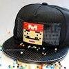 New Fashion Design DIY Detachable Trucker Snapback Hats For Men Summer Mosaics Brick Hat For Women