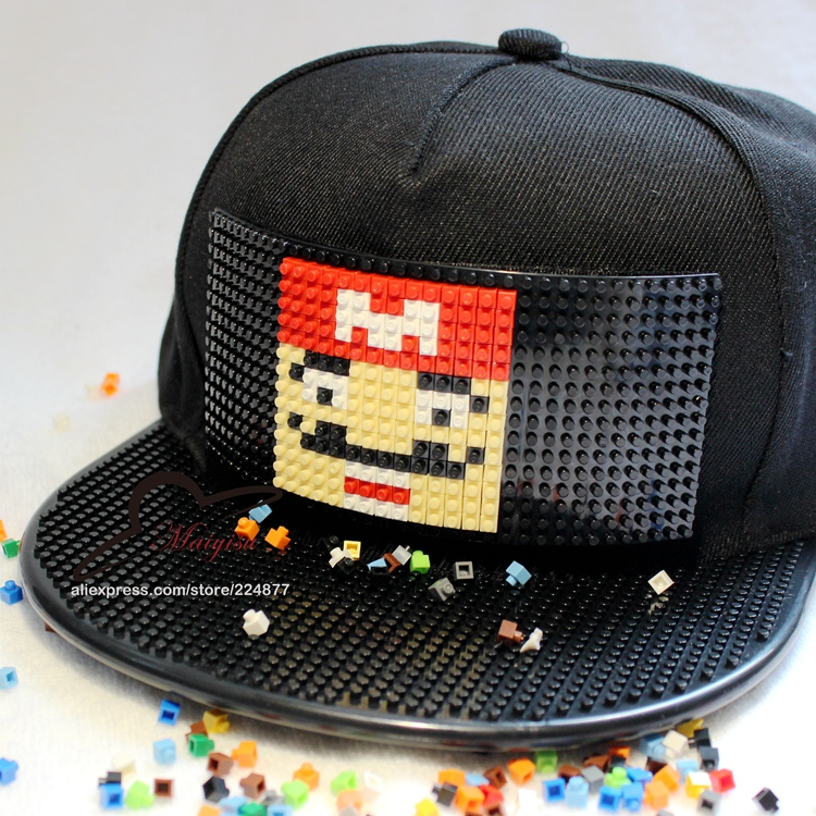 57e6514f889 Detail Feedback Questions about New Fashion Design DIY Detachable Trucker  Snapback Hats For Men Summer Mosaics Brick Hat for Women Black Caps on ...
