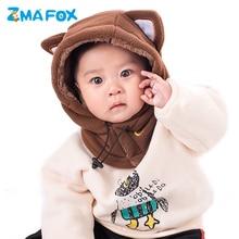 ZMAFOX baby hooded cap with ski mask children kids polar fleece balaclava beanie hats neck warmer masked velvet hat