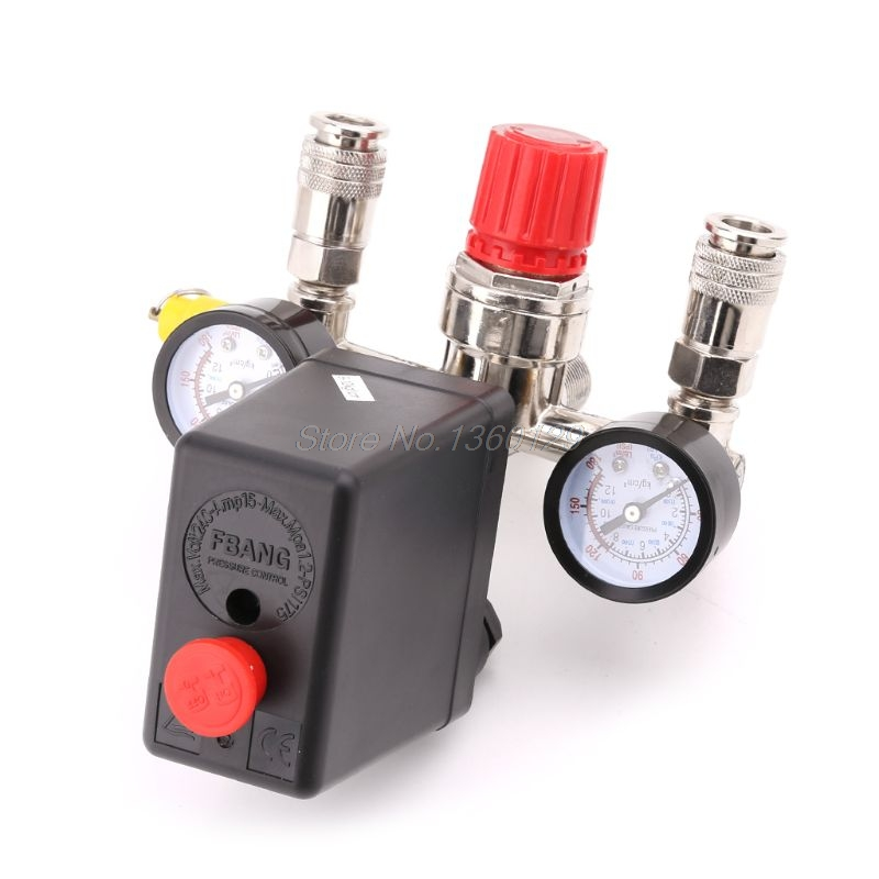Air Compressor Pressure Control Switch Valve 0.5 1.25MPa With Manifold Regulator & Gauges Nov30 Wholesale&DropShip|Pressure Gauges|   - title=
