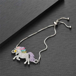 Lucky Cute Colorful Unicorn Adjustable Crystal Bracelet For Girls Lucky Silver Bracelet Children's Day Gift