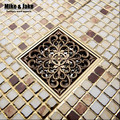 10*10cm Vintage Artistic antique Brass Bathroom Square Shower Floor Drain Trap Waste Grate With Hair Strainer anti smelly drains