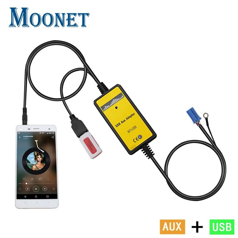 Moonet Voiture MP3 lecteur adaptateur 3.5mm AUX-IN TF SD USB CD changeur Pour 8 P VW Skoda Siège De Golf Jetta Octavia De Spuerb QX010