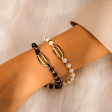 Ubuhle New Trendy Woven Punk Bracelet Vintage Spray Paint Shell Charm Bracelets for Women Men White Black Beads Hand Jewelry