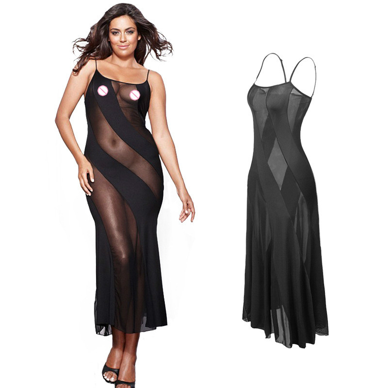 Hot New Black Plus Size <font><b>XXL</b></font> XXXL XXXXL 5XL 6XL Sexy Lingerie Nightgown Gown Long Babydoll Sleepwear,Sexy Dress For <font><b>Sex</b></font> Clothing image