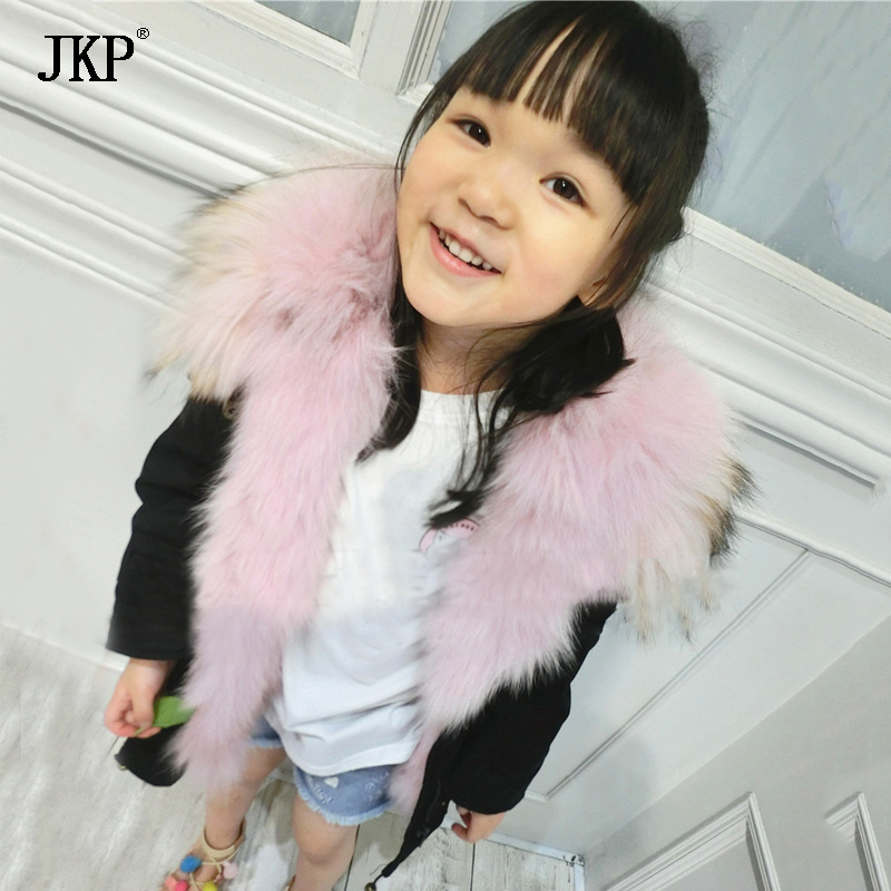 winter children Fur coat fox fur lining warm thick parka raccoon fur collar kids jacket boys girls coat