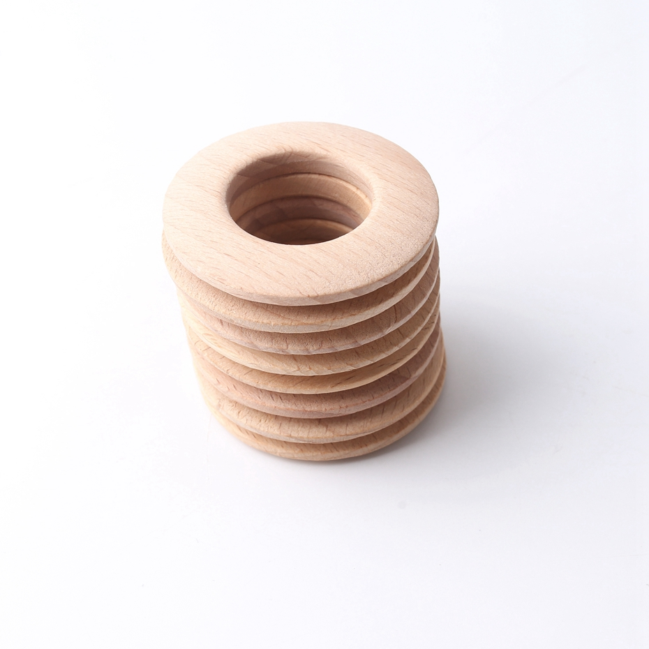 5pcs50mm Original Wooden Teether Wood Ring Donuts Beech Wood Round Garden Decor Jewelry DI