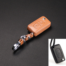 High quality leather key cover for Peugeot RCZ 206 207 306 307 308 407 408 for Citroen C2 C3 C4 C4L C5 C6 2 buttons car styling