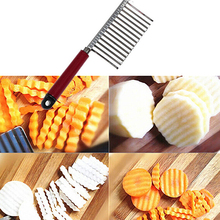 Stainless Steel Potato Chip Vegetable Crinkle Cutter Blade Slicer Wave Knife 6YCY
