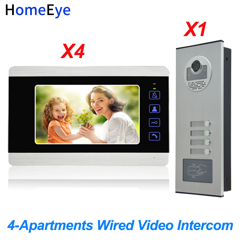 HomeEye 4-Apartments Door Bell Home Access Control System 7'' 4-Wire Multi-family Video Door Phone Intercom Waterproof 1200TVL