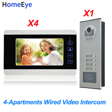 HomeEye 4-Apartments Door Bell Home Access Control System 7 4-Wire Multi-family Video Phone Intercom Waterproof 1200TVL