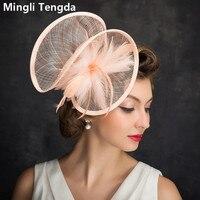 Mingli Tengda Wedding Hat Female Feather Hemp Yarn Solid Color Bride Hat Bridal Headdress Mesh Wedding Banquet Flesh Pink Hats