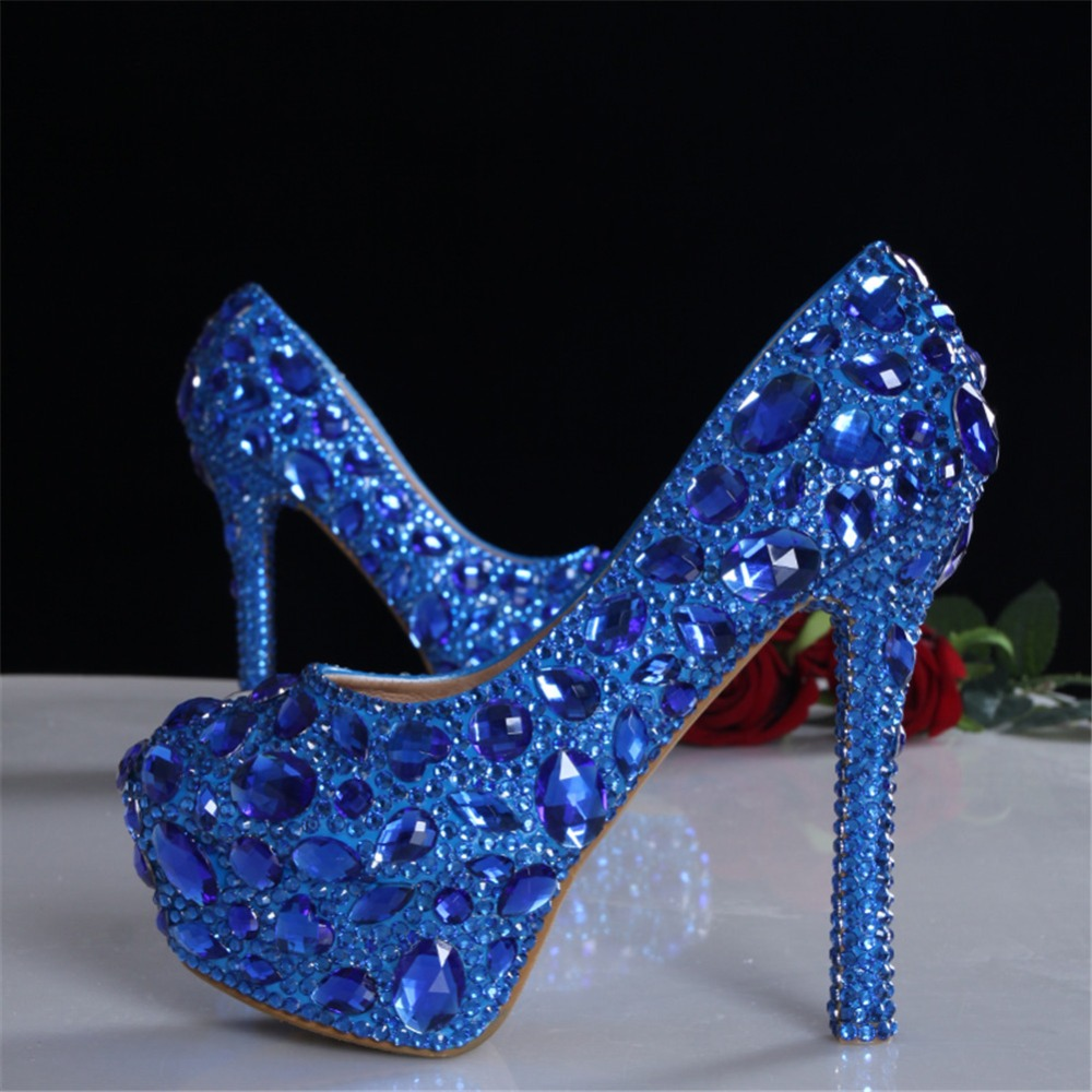 fc04b47d8a US $99.99 |Free Shipping Wedding Shoes Royal Blue Black Bling Bling  Rhinestones Womens Girls Sexy Party High Heels Shoes Crystal Bride-in  Women's ...