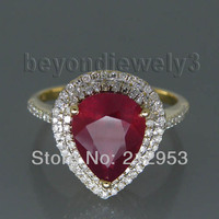 Vintage Ruby Diamond Gold Ring, 585 Yellow Gold Natural Red Ruby Ring Pear 8x10mm Stone Jewelry SR10
